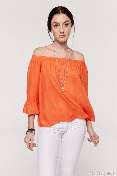 camisola mangas con volados y escote con elastico naranja Yagmour primavera verano 2018