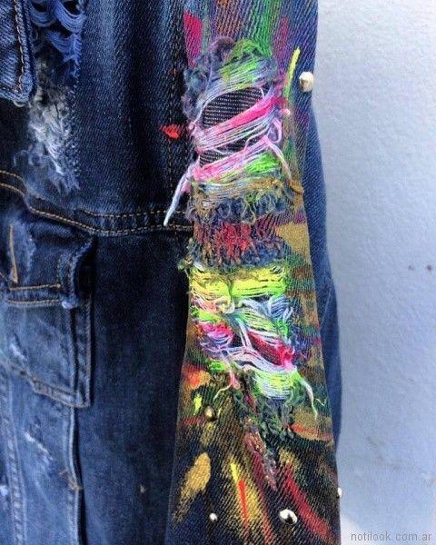 campera con roturas bordados y pintada pago chico primavera verano 2018