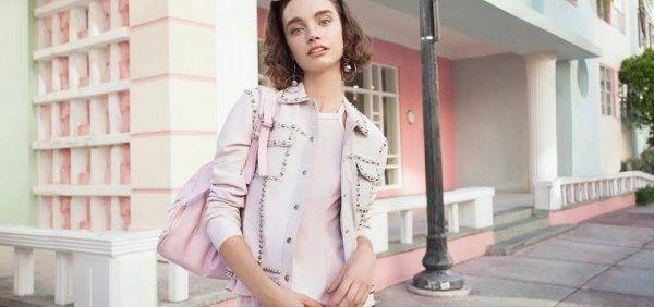 campera de cuero rosa palido Las pepas primavera verano 2018