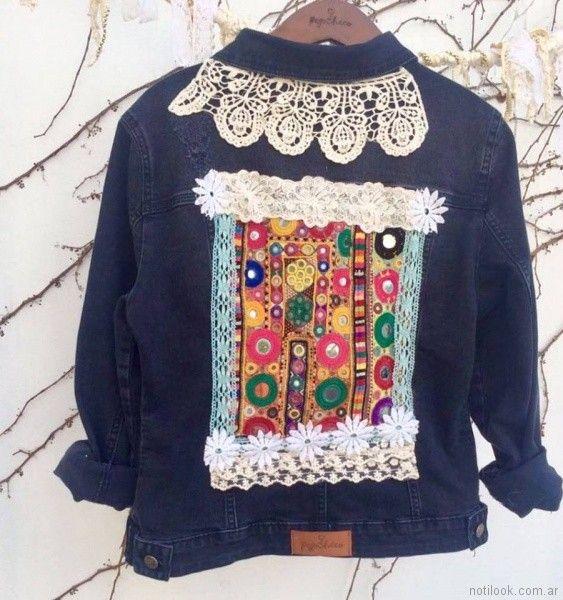 campera de jeans bordada y apliques de puntilla pago chico primavera verano 2018