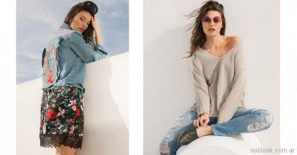 campera de jeans bordada y jeans roto Nucleo primavera verano 2018
