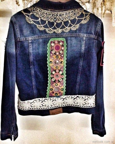 campera de jeans con aplique en puntilla Pago Chico primavera verano 2018