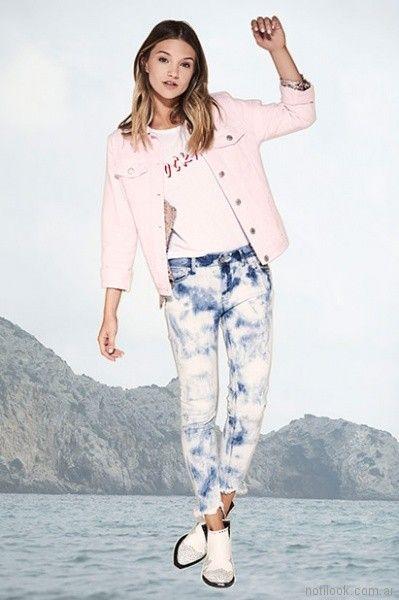 campera de jeans rosada y jeans batik verano 2018 Kosiuko