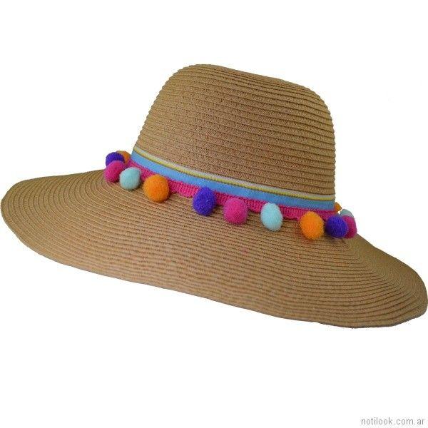 capelina con pompones de colores verano 2018 - compañia de sombrero