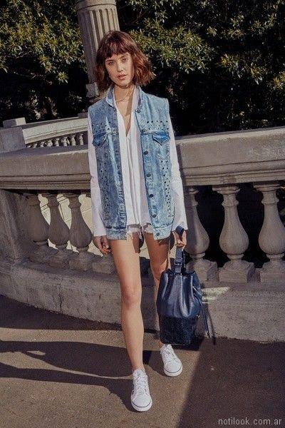chaleco de jeans con tachas Uma primavera verano 2018