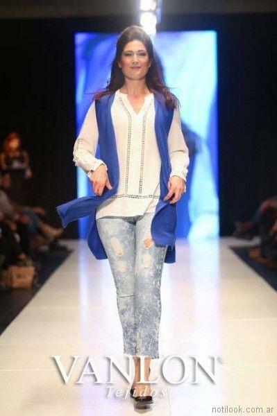 chaleco tejido azul electrico primavera verano 2018 Vanlon Tejidos