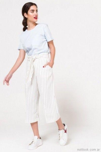 crop pants a rayas celestes verano 2018 Portsaid