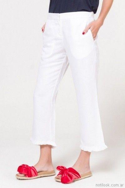 crop pants blanco para mujer verano 2018 Portsaid