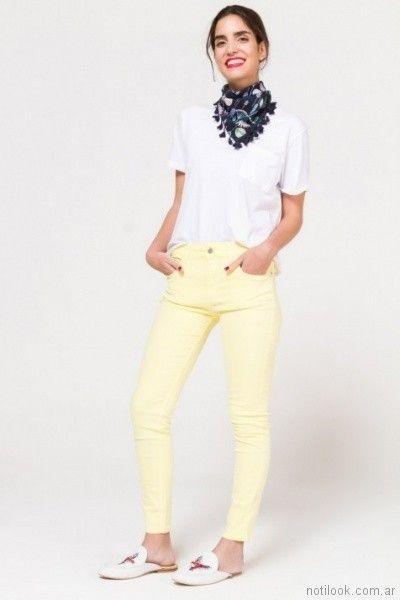 jeans amarillo para mujer verano 2018 Portsaid