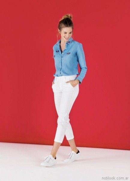 jeans capri blanco y camisa besos Las Oreiro primavera verano 2018