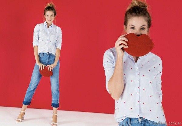 jeans capri y camida corazon Las Oreiro primavera verano 2018