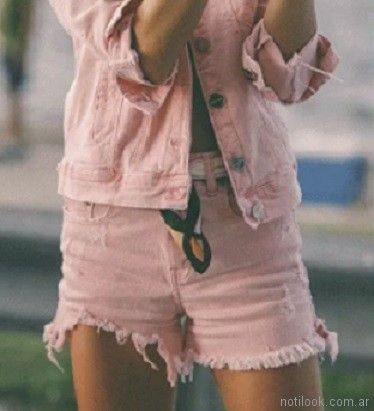 jeans teñido de rosa primavera verano 2018 - Ossira