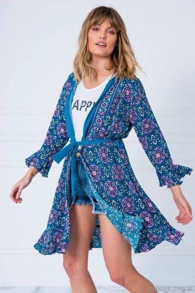 kimono corto estampado casual Doll store primavera verano 2018