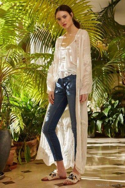 kimono largo de gasa bordada Vero Alfie primavera verano 2018
