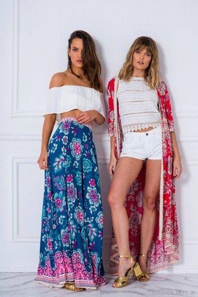 maxi falda estampada y kimono casual Doll store primavera verano 2018