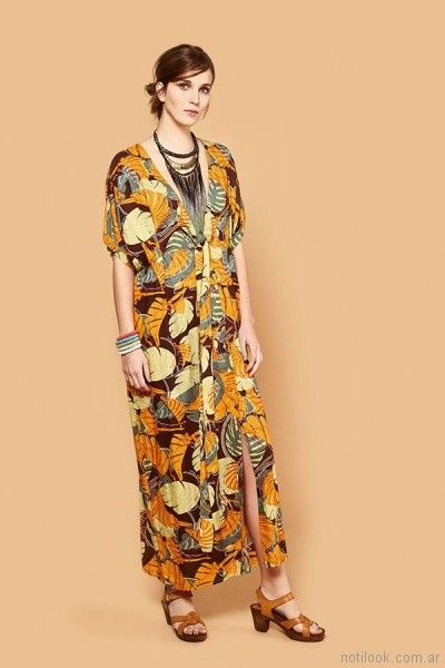maxivestido estampa tropical primavera verano 2018 - India Style