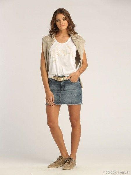 minifalda de jeans con terminacion rustica deflecada Sail primavera verano 2018