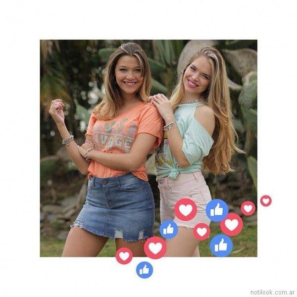 minifalda y short de jeans para teenager primavera verano 2018 Doll fins