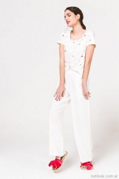 pantalon blanco con remera estampada para mujer verano 2018 Portsaid