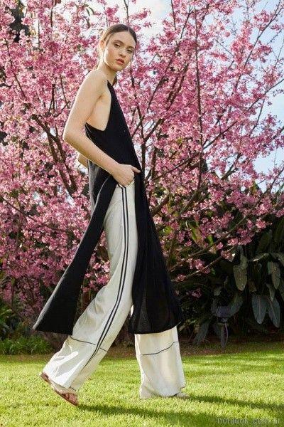 pantalon palazzo de vestir con remera tunica con cortes laterales Vero Alfie primavera verano 2018