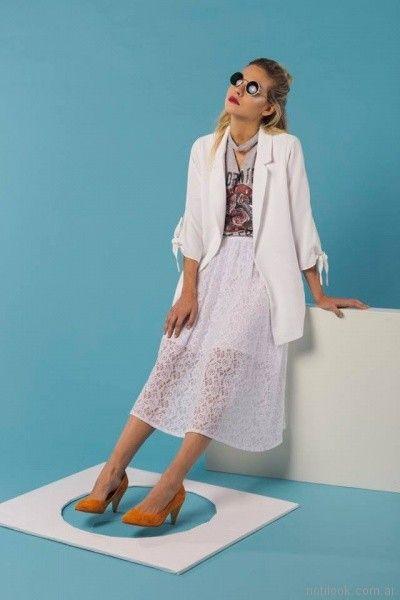 pollera de encaje blanca tramps moda juvenil primavera verano 2018