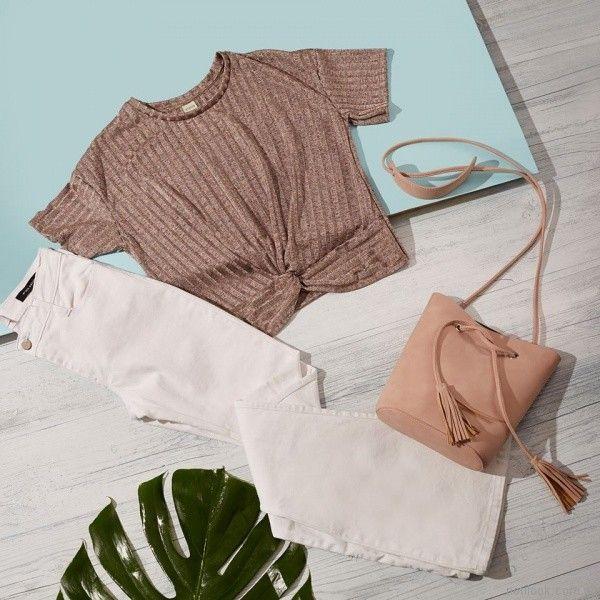 remera de hilo mangas cortas y jeans blanco koxis primavera verano 2018