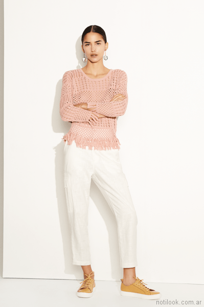 sweater calado y pantalon capri de vestir Clara ibarguren primavera verano 2018