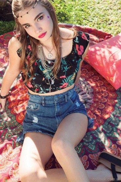 top en estampa tropical y short de jeans verano 2018 - look adolescente - Te lo juro