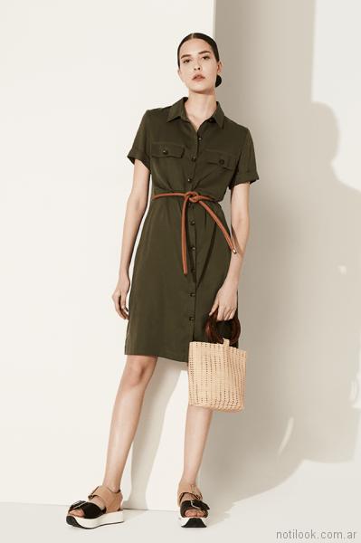 vestido corto abotonado verde Clara ibarguren primavera verano 2018
