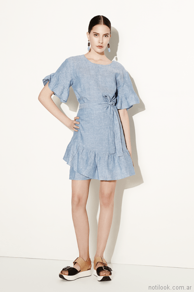 vestido corto denim Clara ibarguren primavera verano 2018