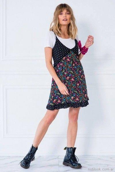 vestido para el dia con remera abajo Doll store primavera verano 2018