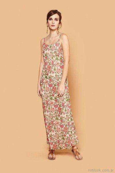 vestido recto largo para el dia primavera verano 2018 - India Style