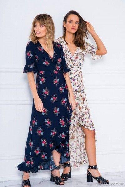 vestidos largos estampados para el dia Doll store primavera verano 2018