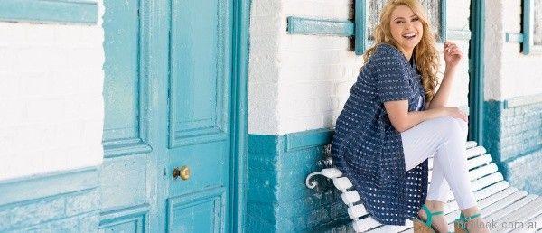 Camisa con ojales y jeans blanco para gorditas verano 2018 - Portofem