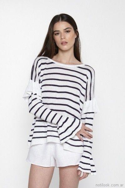 Sweater a rayas marinero primavera verano 2018 - Millie Tejidos