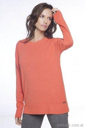 Sweater naranja de hilo primavera verano 2018 - Nuss Tejidos