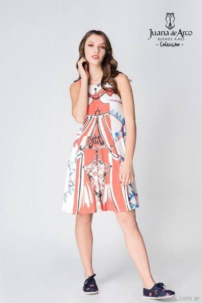Vestido corto estampado informal verano 2018 - juana de arco