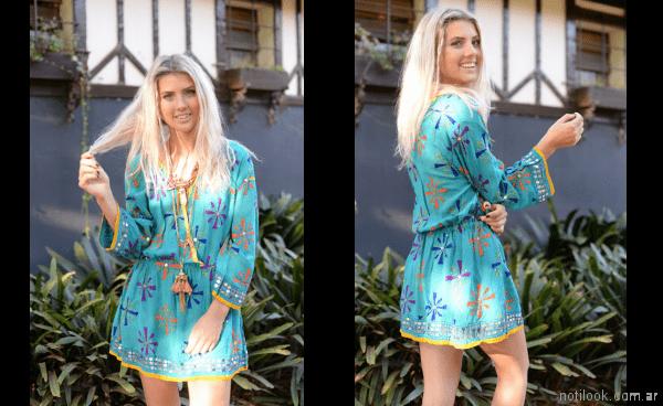 Vestido turquesa verano 2018 - Vars moda playa