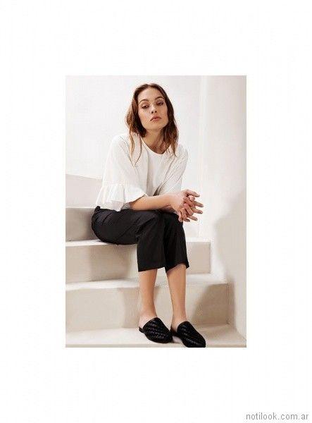 blusa blanca y pantalon negro vestir verano 2018 - Naima