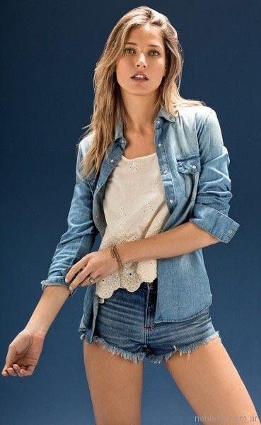 blusa de broderie y camisa de jeans Cuesta Blanca primavera verano 2018