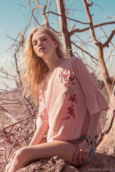 blusa de crepe bordada en hilos con volados en mangas Sweet primavera verano 2018