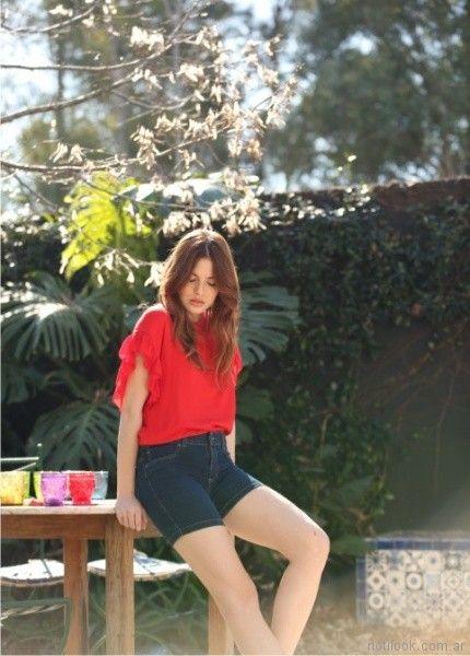blusa roja con volados en mangas Orix primavera verano 2018