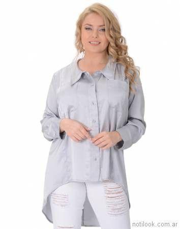 camisa corte irregular talle grande con jeans verano 2018 - Portofem