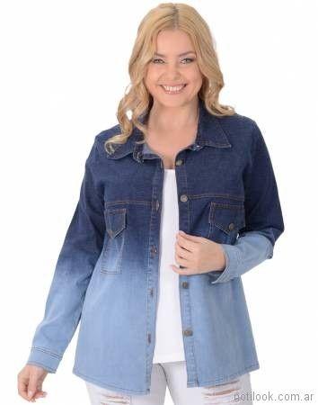 camisa de jeans para gordita verano 2018 - Portofem
