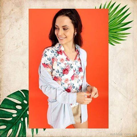 camisa estampada verano 2018 - Kevingston Mujer