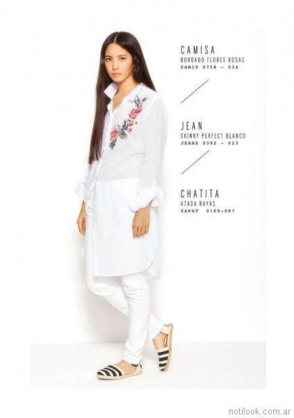 camisa larga bordada y pantalon blanco VER mujeres apasionadas verano 2018