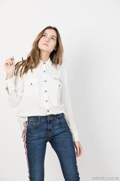 camisa mangas largas blanca John l cook mujer verano 2018