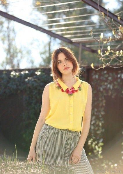camisa mujer amarilla musculosa Orix primavera verano 2018