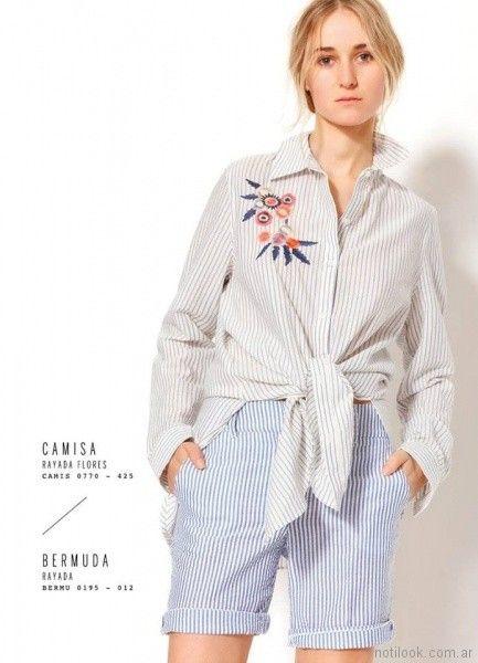 camisa rayada con bordado floral y bermuda a rayas VER mujeres apasionadas verano 2018
