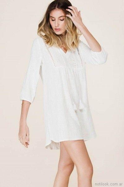 camisola blanca con puntilla tibetano store primavera verano 2018